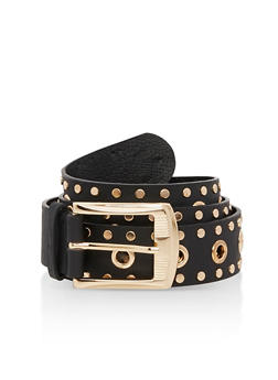Plus Size Studded Faux Leather Belt - 3128041657244