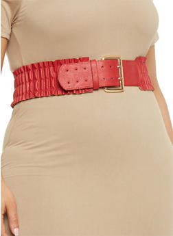Plus Size Smocked Ruffle Waist Belt - 3128041658655