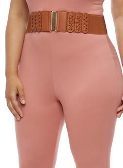 Plus Size Braided Stretch Waist Belt - 3128041659106