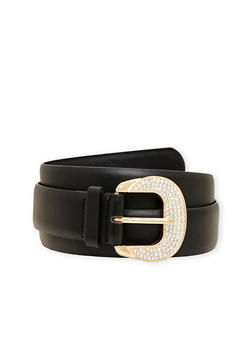 Plus Size Faux Leather Belt with Studded Buckle - 3128052801833