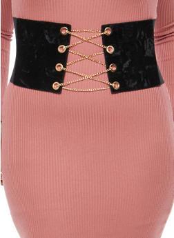 Plus Size Velvet Chain Lace Up Corset Belt - 3128061590884
