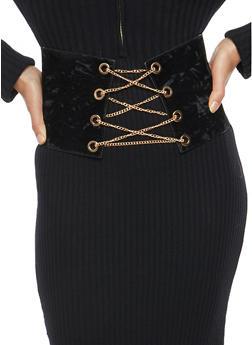 Chain Lace Up Corset Waist Belt - 3128061591480