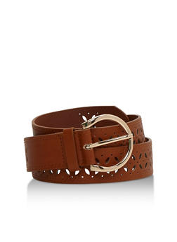 Faux Leather Double Stitch Lasercut Belt - 3128073330007