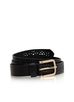 Faux Leather Lasercut Flower Belt - 3128073330010