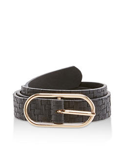 Faux Leather Thin Woven Belt - 3128073330376