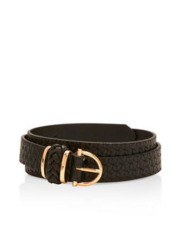 Braided Faux Leather Belt - 3128073330590