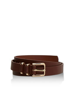 Solid Double Loop Faux Leather Belt - 3128073330815