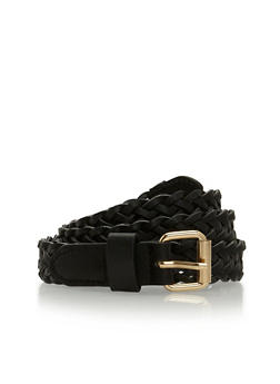 Faux Leather Braided Belt - 3128073330830