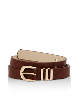 Aztec Print Faux Leather Belt - 3128073331100