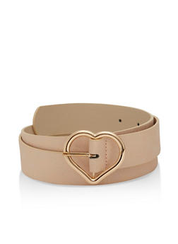 Plus Size Faux Leather Shimmer Belt with Metal Heart Buckle - 3128073331266
