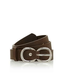 Faux Leather Infinity Buckle Belt - 3128073331408