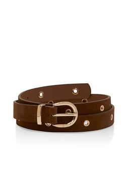 Faux Suede Belt with Grommet Detail - 3128073332010