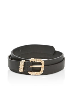 Faux Leather Belt with Floral Buckle Accents - 3128073332090