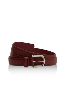 Faux Leather Belt with Burned Scallop Print - 3128073335015
