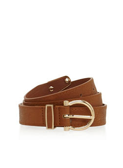 Faux Leather Skinny Belt with Cutout Loop - 3128073335023