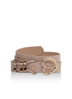 Faux Leather Belt with Triple Bow Loops - 3128073335032
