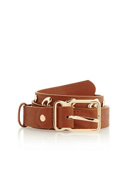 Faux Leather Belt with Metallic Hearts - 3128073335033