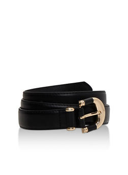 Faux Leather Belt with Metallic Buckle - 3128073335034
