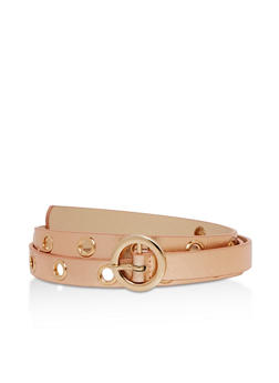 Skinny Faux Leather Grommets Belt - 3128073335060