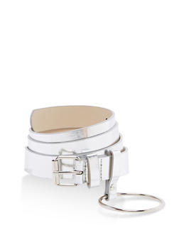 Faux Leather Belt with Metallic Ring Detail - 3128073335090