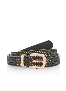 Perforated Faux Leather Skinny Belt - 3128073335200