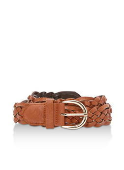 Woven Faux Leather Belt - 3128073337010
