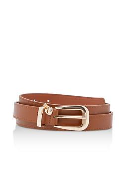 Heart Charm Faux Leather Belt - 3128073337059