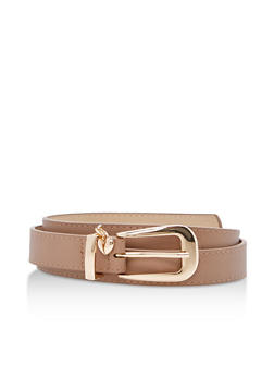 Heart Charm Faux Leather Belt - 3128073337059