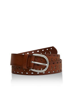 Lasercut Faux Leather Belt - 3128073337374