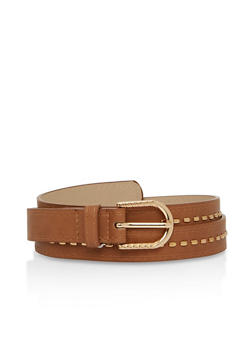 Studded Faux Leather Skinny Belt - 3128073337680