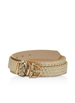 Plus Size Braided Faux Leather Belt - 3128073339509