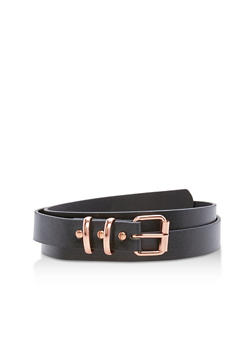 Plus Size Faux Leather Double Loop Belt - 3128073339600