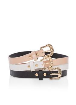 Set of 3 Textured Buckle Skinny Belts - 3128074392493
