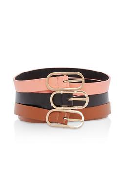 Set of 3 Oval Buckle Skinny Belts - 3128074393386