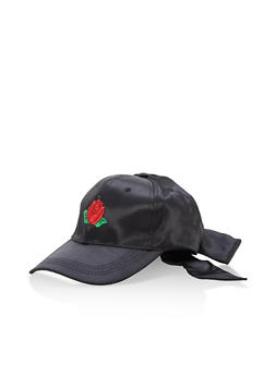 Rose Embroidered Satin Bow Baseball Hat - 3129041651009