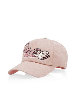 Free Sequined Graphic Glittered Baseball Hat - 3129041651047