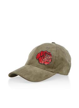 Faux Suede Rhinestone Flower Baseball Cap - 3129041651051