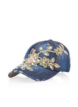 Baseball Cap with Jewel Applique - 3129041651052