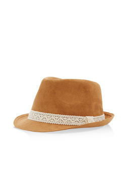 Faux Suede Fedora with Crochet Trim - 3129041652018