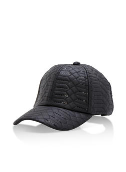 Faux Leather Sequin Baseball Cap - 3129041652469