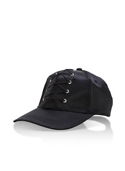 Satin Lace Up Baseball Cap - 3129041655181