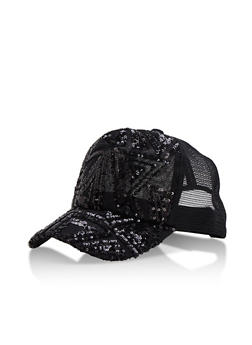 Sequined Mesh Trucker Cap - 3129041659651