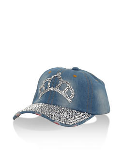 Bedazzled Crown Denim Baseball Cap - 3129042740202