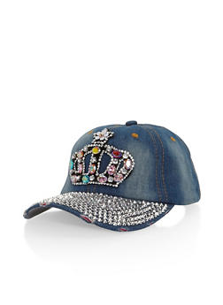 Bedazzled Crown Denim Baseball Cap - 3129042740404