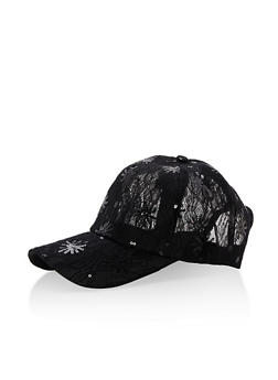 Sequined Lace Baseball Hat - 3129067442407