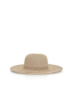 Two Toned Floppy Straw Hat - 3129067445106