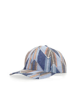 Printed Denim Baseball Cap - 3129067447050