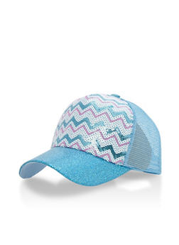 Metallic Chevron Sequin Trucker Hat with Glitter Brim - 3129067447064