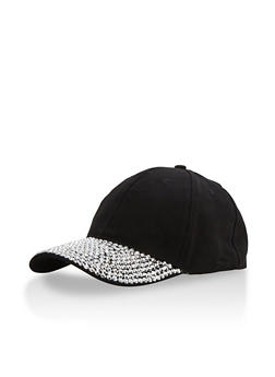 Solid Baseball Cap with Rhinestone Brim - 3129067447070