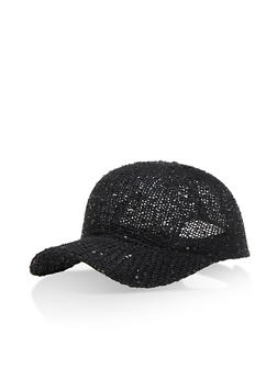 Sequined Macrame Baseball Cap - 3129067447071